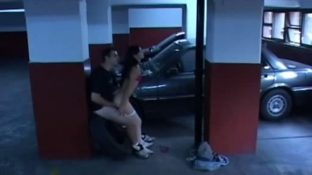 Brunette Young Woman In White Stockings Popped Within The Storage!