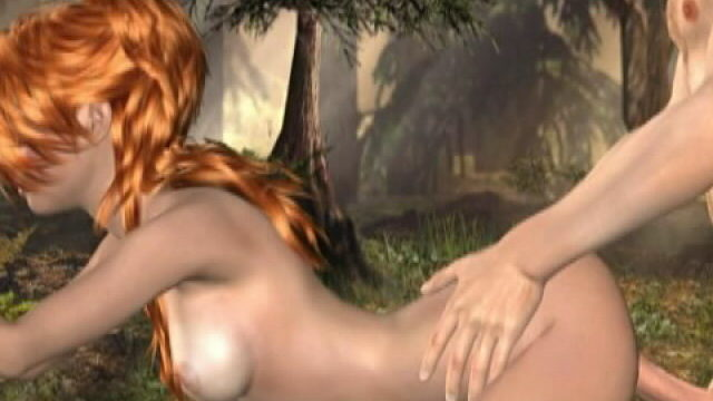 Fiery Crimson Haired 3-d Female Friend Molly Getting Tight Face Flower Screwstared Within The Wooded Area