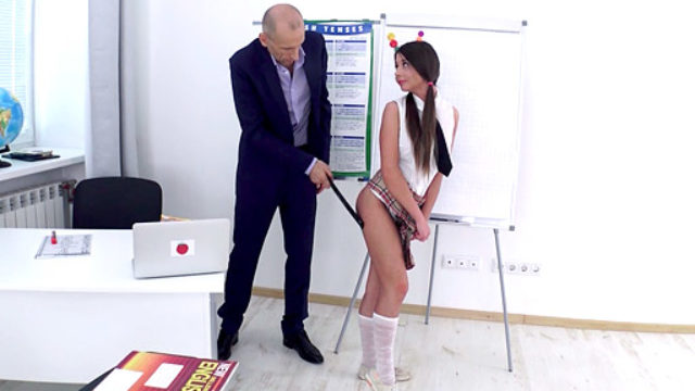 Naughty Moppet Fucks Her Instructor So She Will Not Fail Her Class