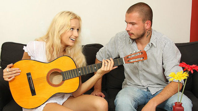 Guitar Toying Step-brother Ravages His Gf