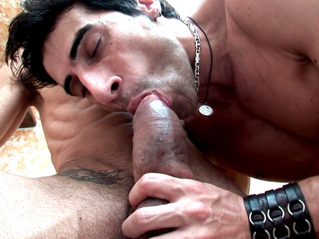Tatted Dark Haired Homosexuals Apolo And Fernando Deep-throating Their Unlikely Dicks