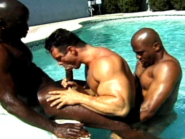 2 Insane And Muscle Bodied Ebony Homosexuals Boinking A Milky Guy Within The Pool