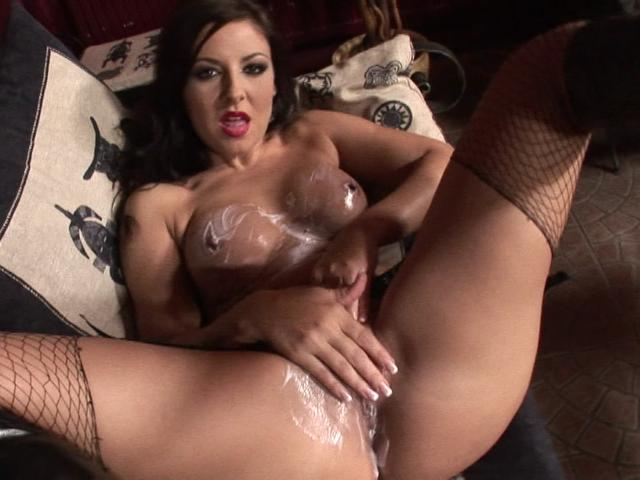Lusty Black-haired Adult Movie Star In Fishnets Creaming Her Nailable Baps And Vulva