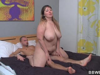 Big-boobed Bbw Leaps On Stiff Man Rod