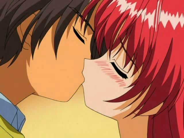 Flamy Crimson Haired Anime Doll Making Enjoy Together With Her Beau